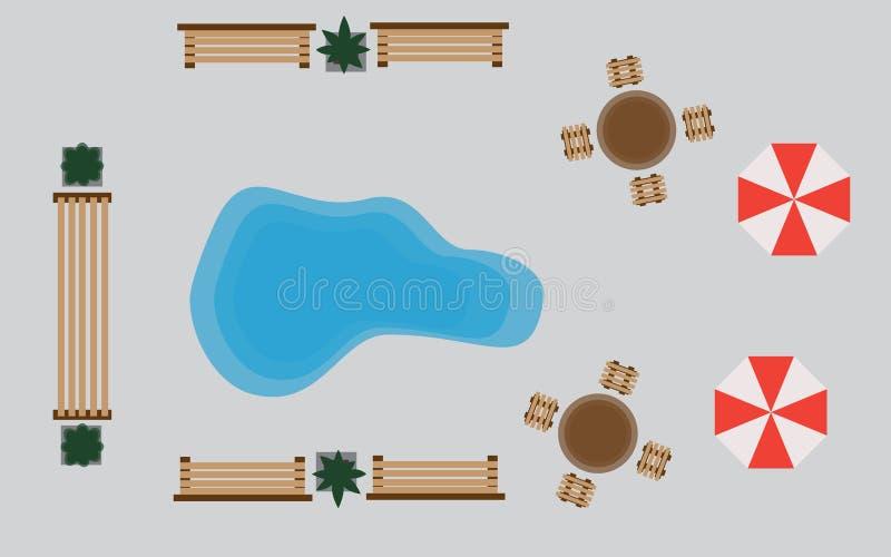 Park rozrywki mapa Odgórny widok Set wektorowe drewniane ławki i treetop symbole Kolekcja dla kształtować teren ilustracji