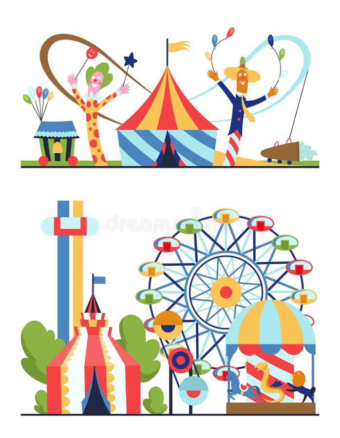 Park rozrywki, miastowy krajobraz z carousels, kolejka górska i lotniczy balon, Cyrk, zabawa jarmark i karnawału temat, ilustracja wektor