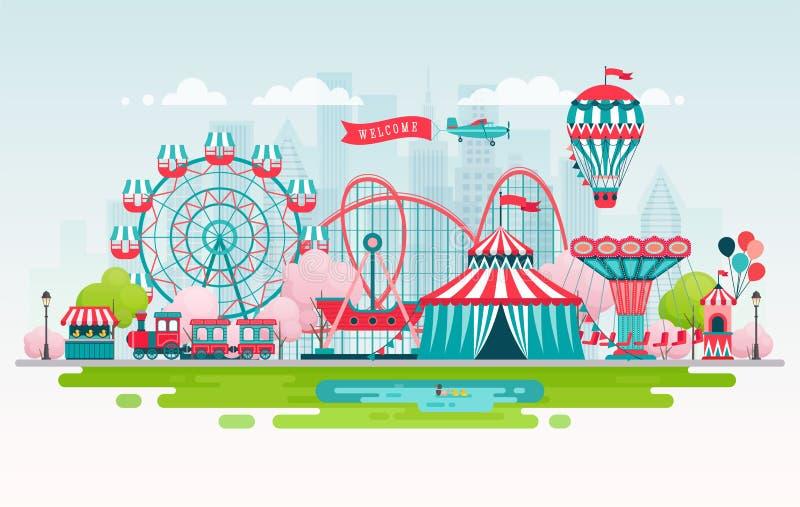 Park rozrywki, miastowy krajobraz z carousels, kolejka górska i lotniczy balon, Cyrkowy i Karnawałowy temat ilustracji