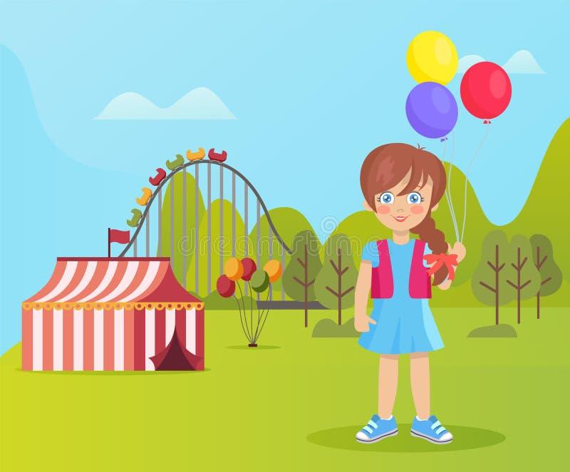 Park Rozrywki, Uśmiechnięty dziecko, Nadmuchiwany balon royalty ilustracja