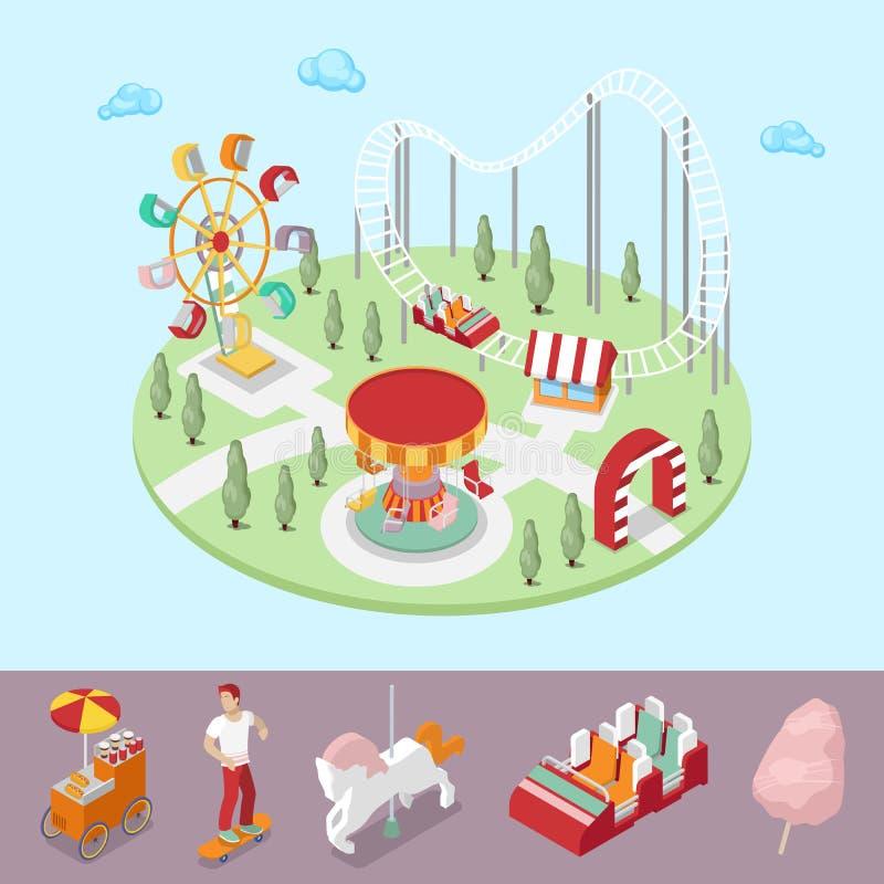 Park Rozrywki z Carousel, Ferris kołem i kolejką górską, royalty ilustracja