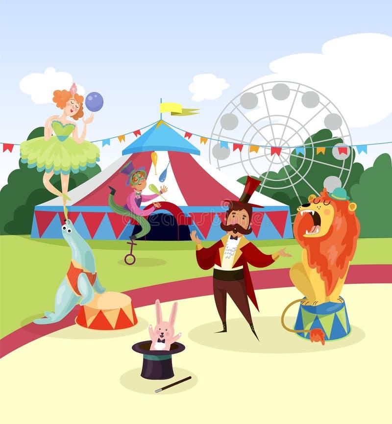 Park rozrywki z cyrkowymi artystami i markizą, ferris obserwaci koła i zieleni drzewa na tle kreskówka ilustracji