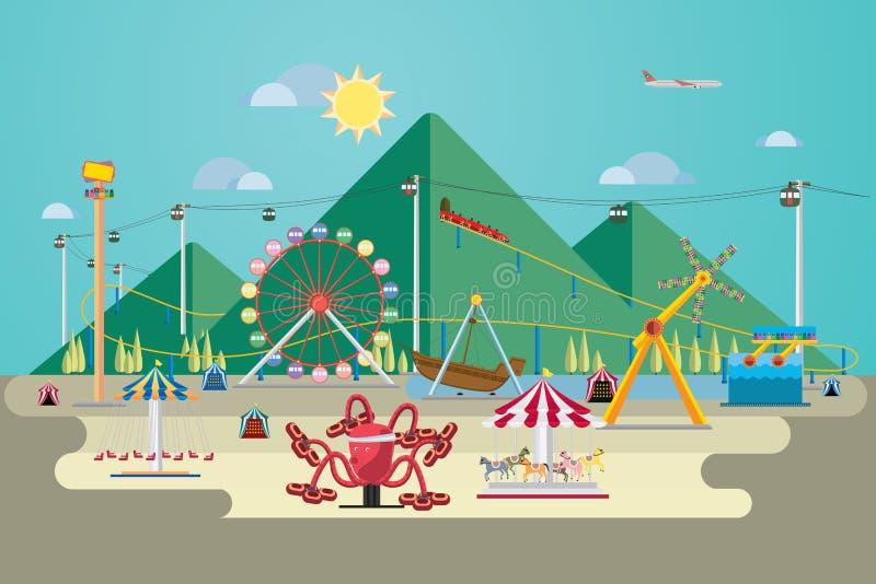 Park rozrywki z górą ilustracji