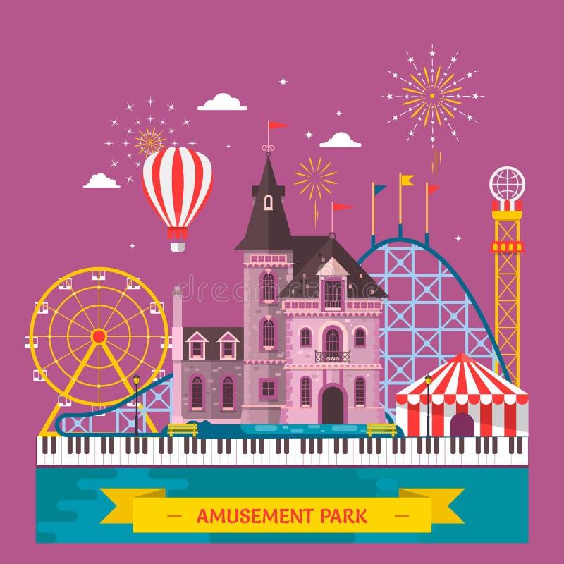 Park rozrywki z przyciąganiem, kolejka górska, namiot z cyrkiem, carousel i round przyciąganie wesoło, iść round, ferris royalty ilustracja