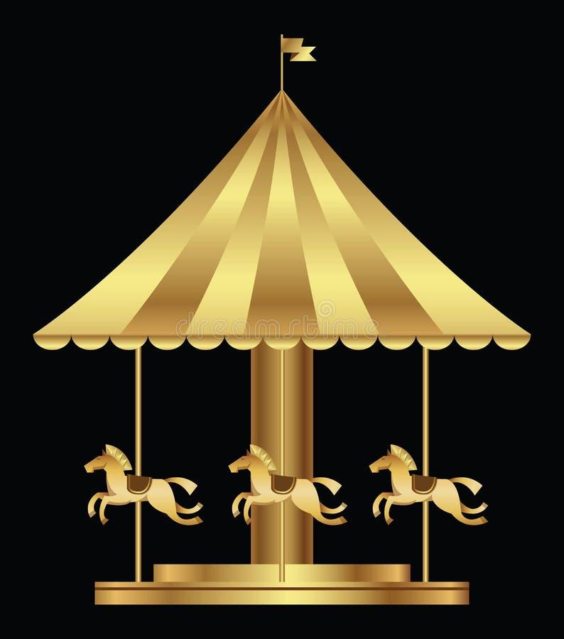 Park rozrywki z złotymi carousel koniami royalty ilustracja