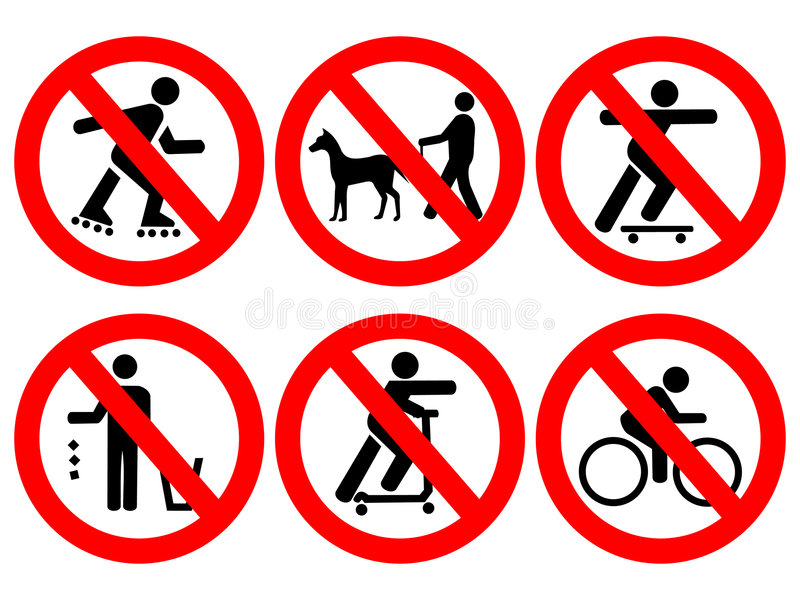 Park rules signs stock illustration