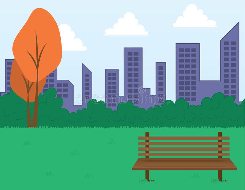 Park Scene and Buildings royalty free illustration
