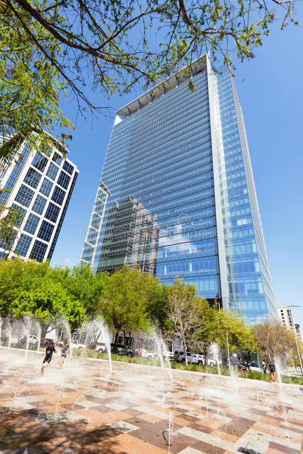 Park scene in Houston Downtown on sunny day royalty free stock images