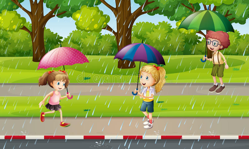 Park scene with kids in the rain royalty free illustration