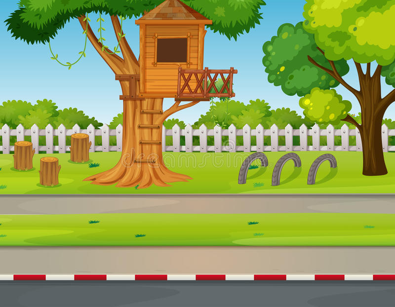 Park scene with treehouse along the road vector illustration