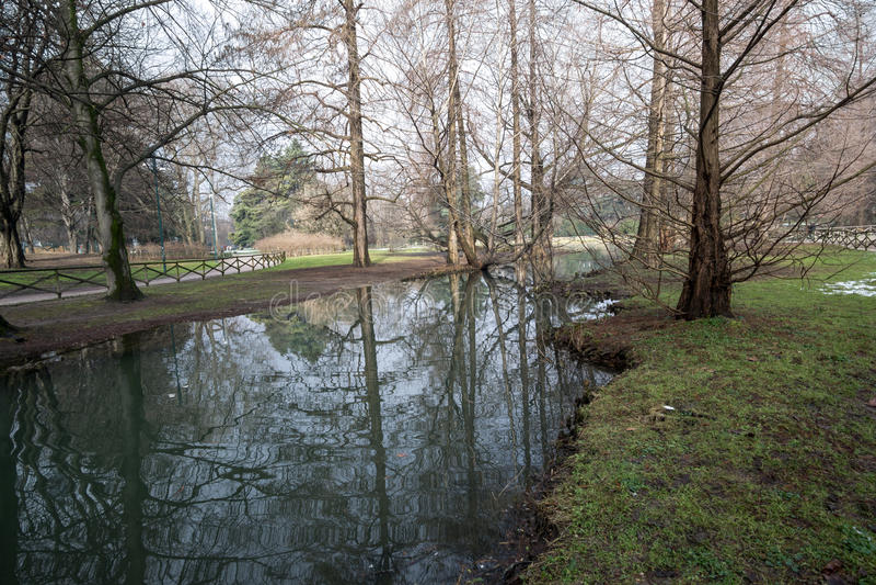 Park sempione lake royalty free stock photo
