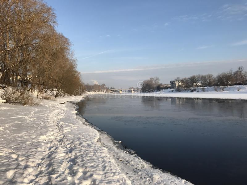 Winter in Russia, river Volga in Tver. stock photography
