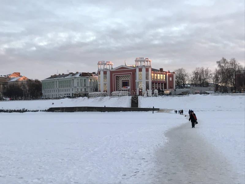 Winter in Russia, river Volga in Tver. stock images