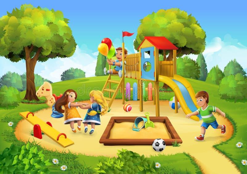Park, speelplaatsachtergrond royalty-vrije illustratie