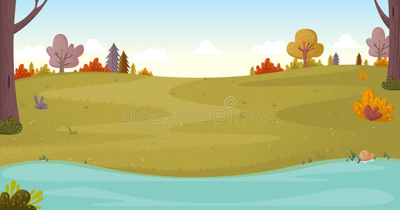Park on a sunny day. Nature background vector illustration