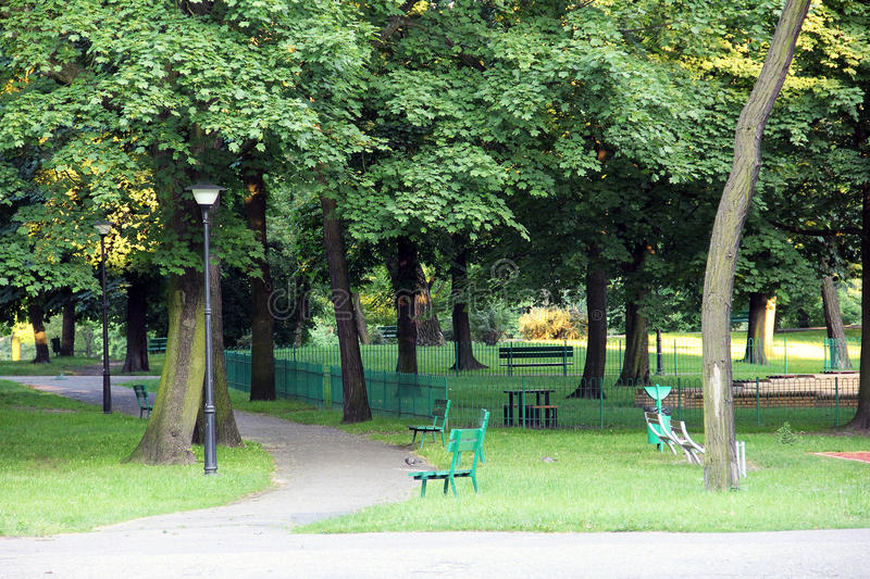 Park, surrounded by a green landscape stock photography