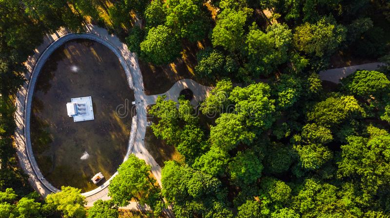 Park in Tarnow,Poland view from drone over Bem Mausoleum. Lesser, aerial, city, environment, europe, forest, above, garden, general, grass, green, landmark royalty free stock photography