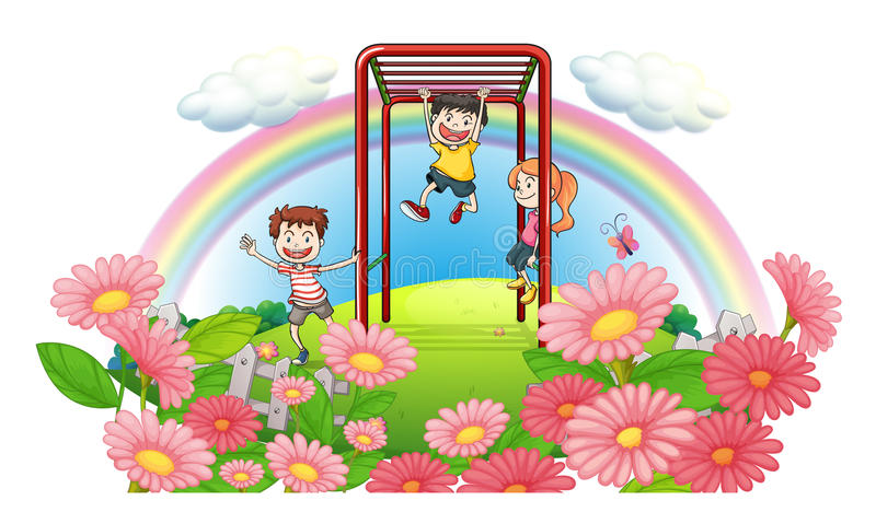 Download A Park At The Top Of The Hills With Kids Playing Stock Illustration - Image: 33690068