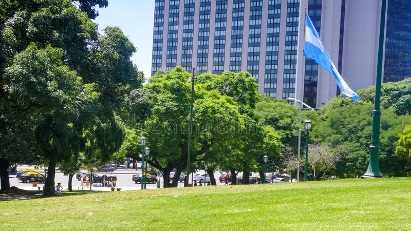 San martin square in buenos aires. Park and tower near San Martin square in Buenos Aires in Argentina royalty free stock image