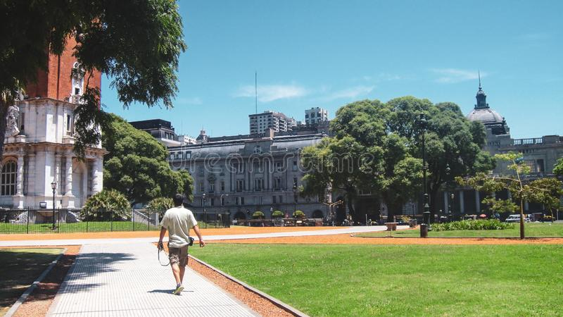 San martin square in buenos aires. Park and tower near San Martin square in Buenos Aires in Argentina royalty free stock images