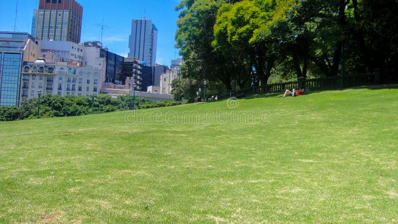 San martin square in buenos aires. Park and tower near San Martin square in Buenos Aires in Argentina royalty free stock photography