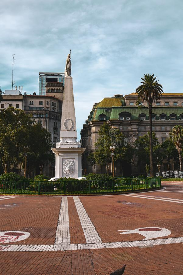 San martin square in buenos aires. Park and tower near San Martin square in Buenos Aires in Argentina, america, ancient, architecture, blue, brick, building stock photography