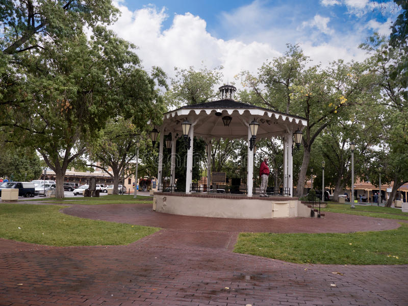 Park in the Town Square in Santa Fe New Mexico USA. The Creative City of Santa Fe In New Mexico with its multitude of Galleries and Sculpture has a quiet centre royalty free stock photography