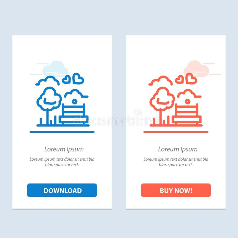 Park, Tree, Bench, Love, Outdoor  Blue and Red Download and Buy Now web Widget Card Template stock illustration