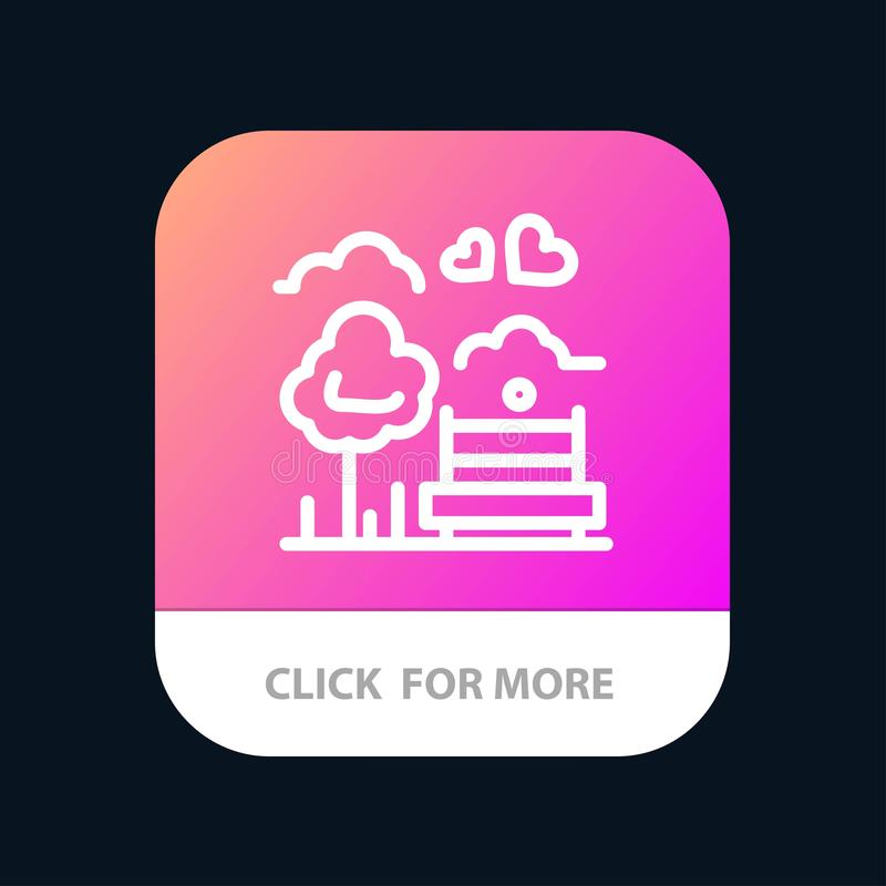 Park, Tree, Bench, Love, Outdoor Mobile App Button. Android and IOS Line Version royalty free illustration