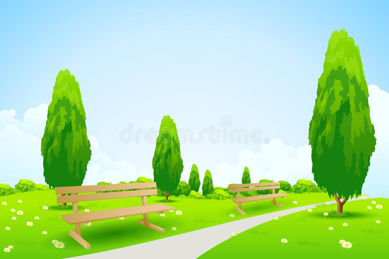 Park With Trees Royalty Free Stock Photos