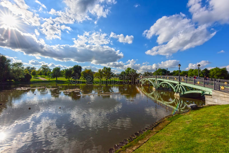 Park Tsaritsino. Moscow, Russia. View of the Western arched bridge over the pond in the Park Tsaritsino. Moscow, Russia royalty free stock image