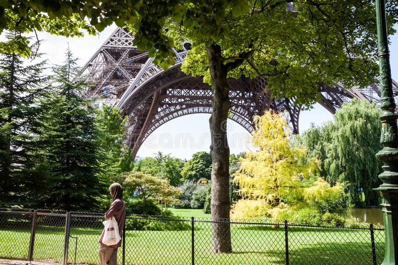 The park under the Eiffel Tower during summer royalty free stock photo
