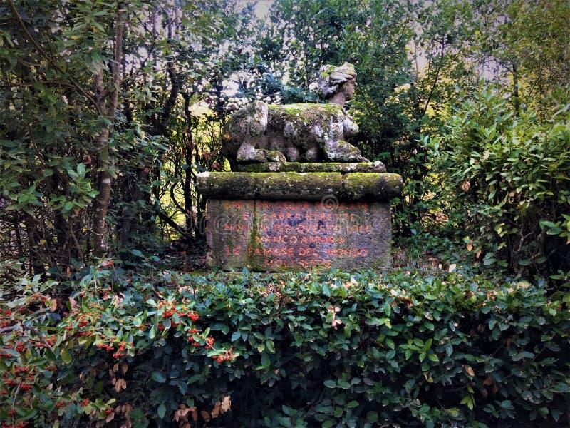Park van de Monsters, Heilig Bosje, Tuin van Bomarzo Sfinx, vegetatie en alchimie stock afbeeldingen