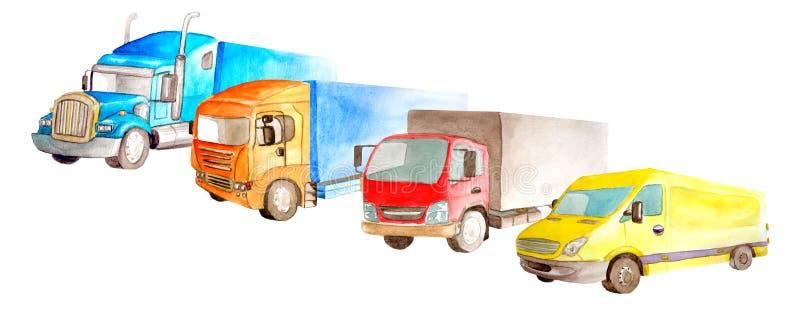 Park van vrachtwagens, vrachtwagens, bestelwagen op een witte die achtergrond in waterverf wordt geïsoleerd sryle stock afbeelding