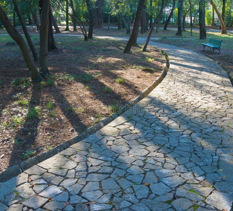 Park Veliki Gradski (großer Stadtpark). Tivat-Stadt, Montenegro lizenzfreie stockbilder