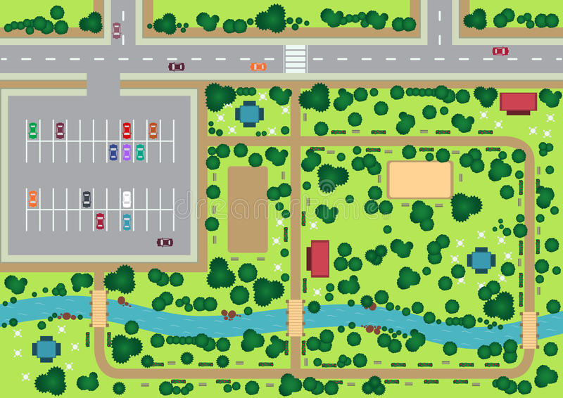 Park view from top. Vector park view from top flat graphic royalty free illustration