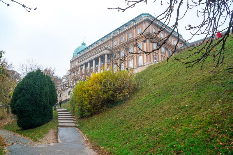 Park walkway at Buda Hill Castle, Budapest, Hungary. Autumn. Nature stock photos