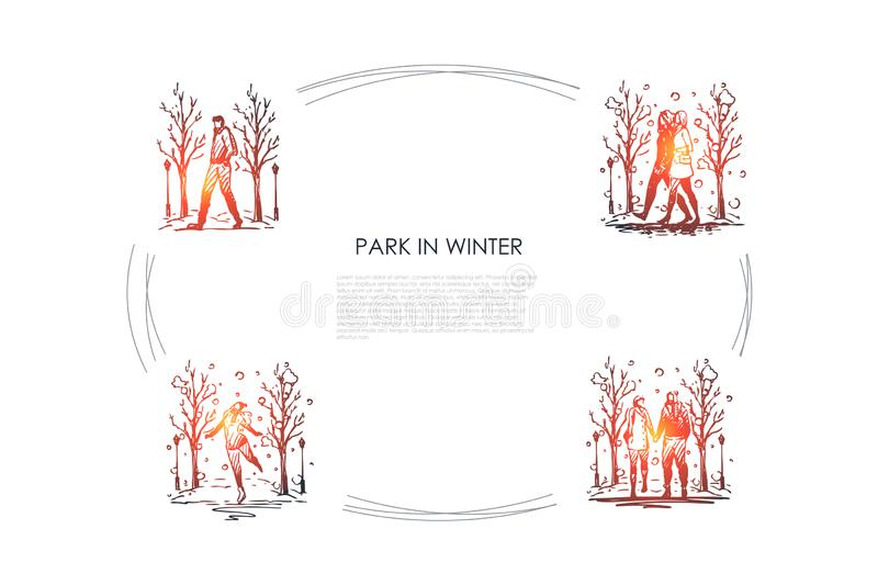 Park in winter - people walking in park in winter vector concept set royalty free illustration