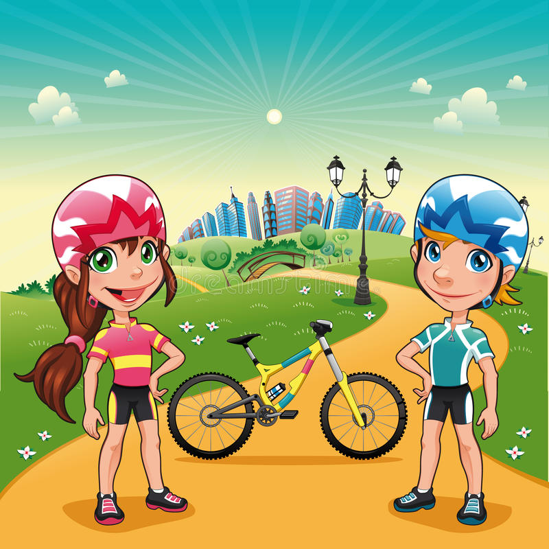 Park with young bikers. royalty free illustration