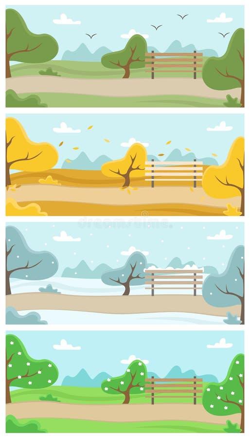 Park z drzewami, karuzelą i ławką, Natura w metropolii cztery krajobrazowego sezonu royalty ilustracja