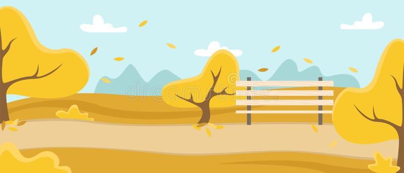 Park z drzewami, karuzelą i ławką, Natura w metropolii Jesie? krajobraz royalty ilustracja