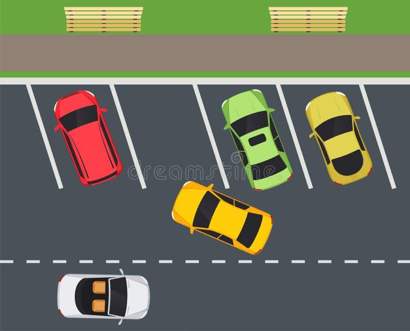 Park z parking miejscami, samochodów wezwania wewnątrz na parking royalty ilustracja
