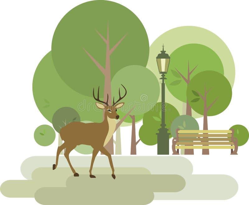 Park z rogaczem royalty ilustracja