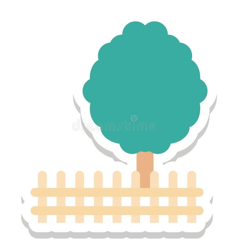 Park, Zaun-Color Isolated Vector-Ikone lizenzfreie abbildung