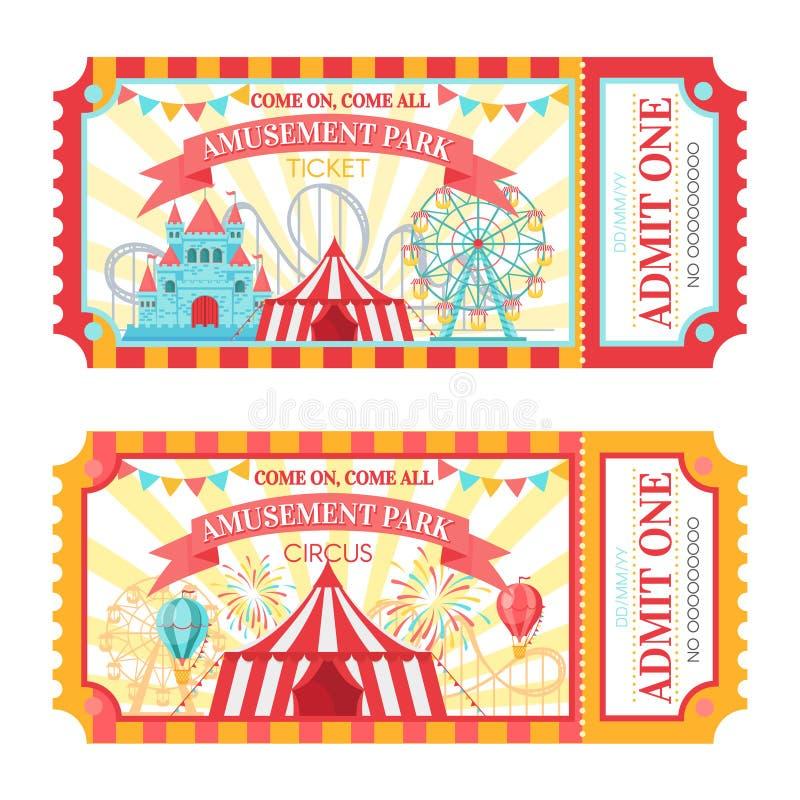 Parka rozrywkiego bilet Przyznaje jeden wstępu cyrkowych bilety, rodzin przyciągań parkowego festiwal i pociesznego fairground, royalty ilustracja