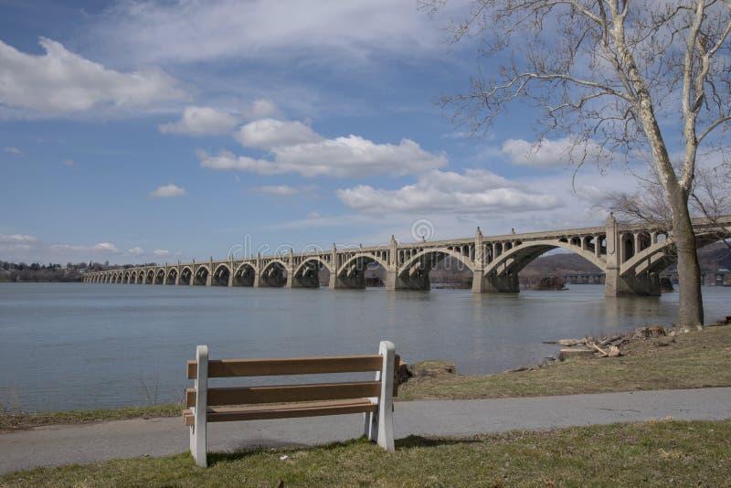 Parkbank bij de rand van de rivier royalty-vrije stock afbeelding