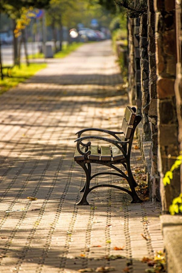Parkbank in een stad in herfstzon royalty-vrije stock foto's