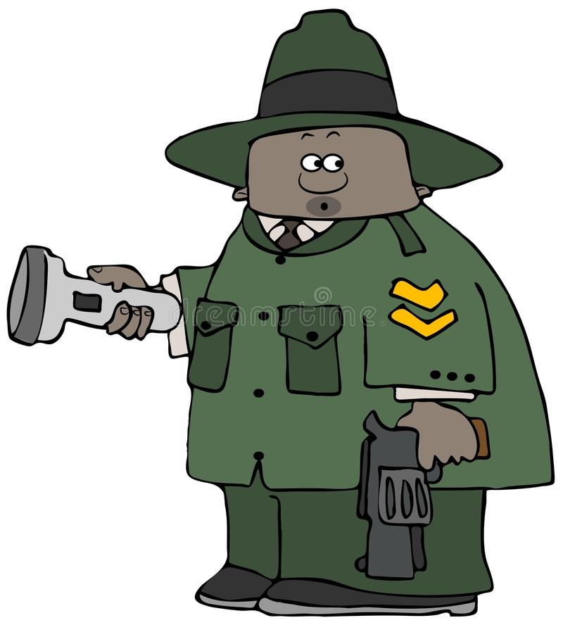 Parkboswachter die een flitslicht en een pistool houden stock illustratie