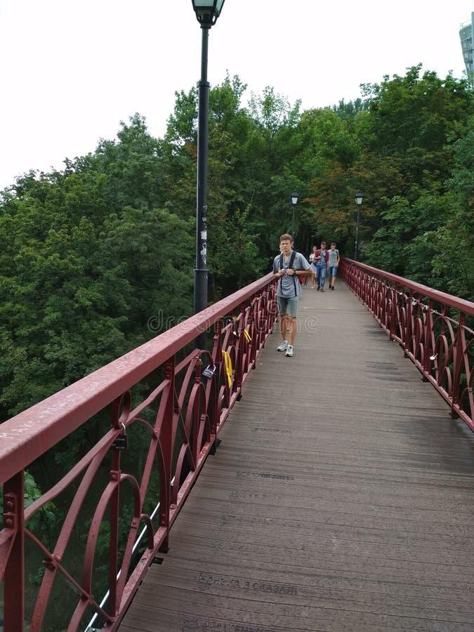 Parkbrug in Kiev royalty-vrije stock afbeelding