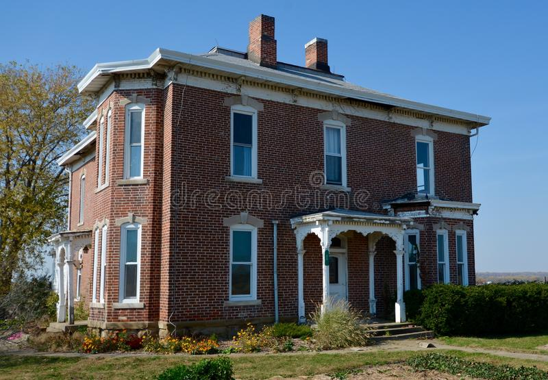Parke County Italianate. This is a Fall picture of a landmark house located in Parke County, Indiana. The house is an example of Italianate architecture. This stock images